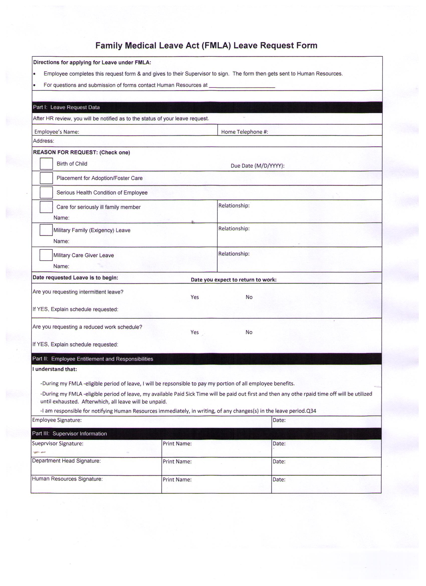 FMLA Request Form  Employee Leave Application Form